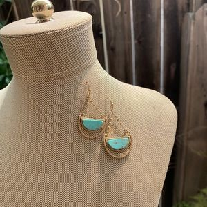 Turquoise and gold tone earrings